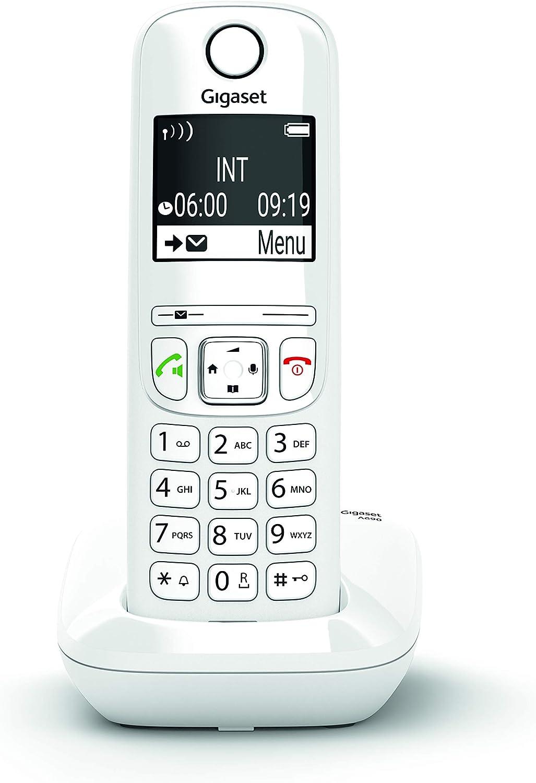 Gigaset AS690 - Teléfono inalámbrico, manos libres, pantall de gran contraste, agenda de 100 contactos, Color Blanco