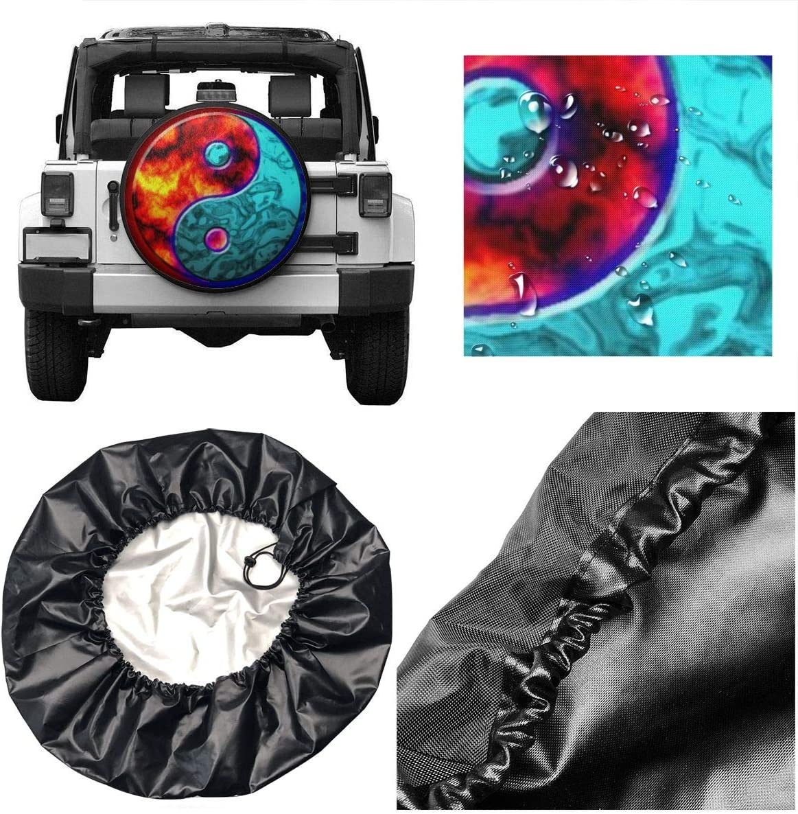RV Car Truck Wheel 14 15 16 17 Inches SDSFGT Ying to Yang Fire to Water Spare Tire Cover Universal Fit for Jeep Trailer