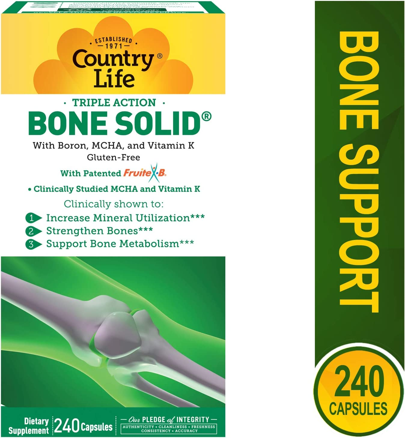 Country Life Triple Action Bone Solid – 240 Capsules – Increase Mineral Utilization – Strengthen Bones – Bone Metabolism