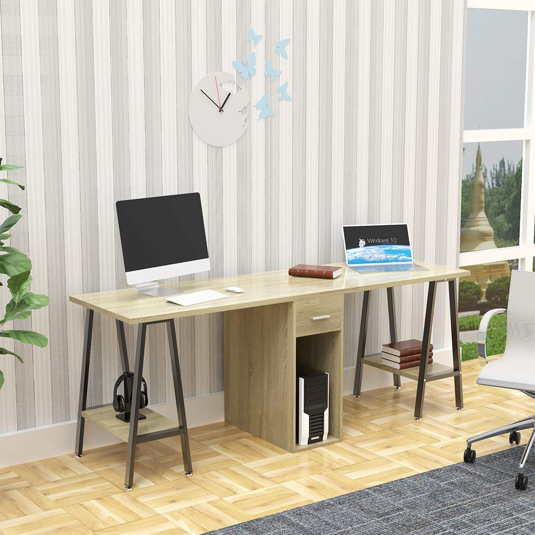 DEWEL Two Person Computer Desk with Drawers 78 Extra Large Long Computer Desk Double Workstation Computer desks with Storage Wood Big Dual Computer Desk Executive Office Desk