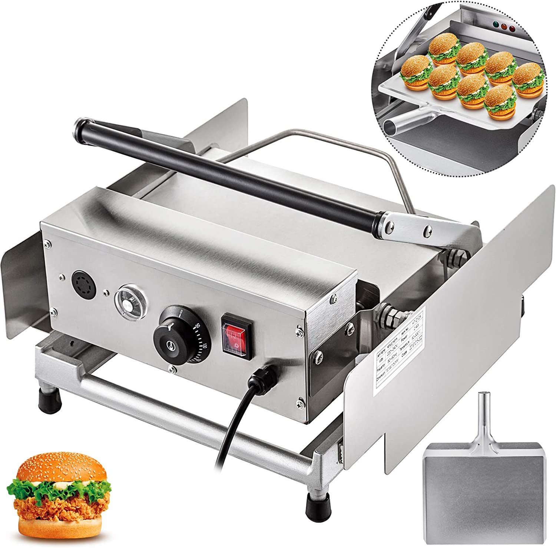 VBENLEM Hamburger Toaster 220V Double-Plates Bun Toaster Commercial Electric Hamburger Toaster Machine 800W Hamburger Making Machine 6 Hamburgers Per Time 50-300℃ Ideal For Bread Heating