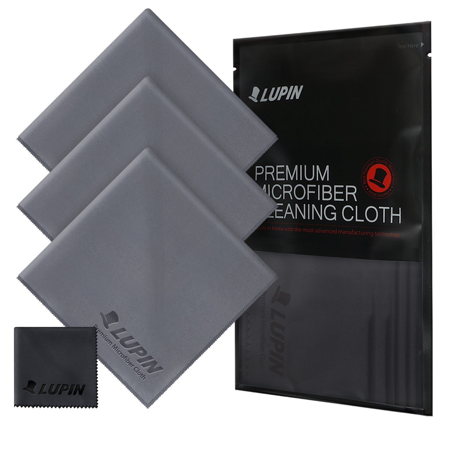 Lupin Microfiber Cleaning Cloths, Large 4 Pack Premium Ultra Lint Polishing Cloth for Cell Phone, Tablets, Laptops, iPad, Glasses, Auto Detail, TV Screens & Other Surfaces - Gray