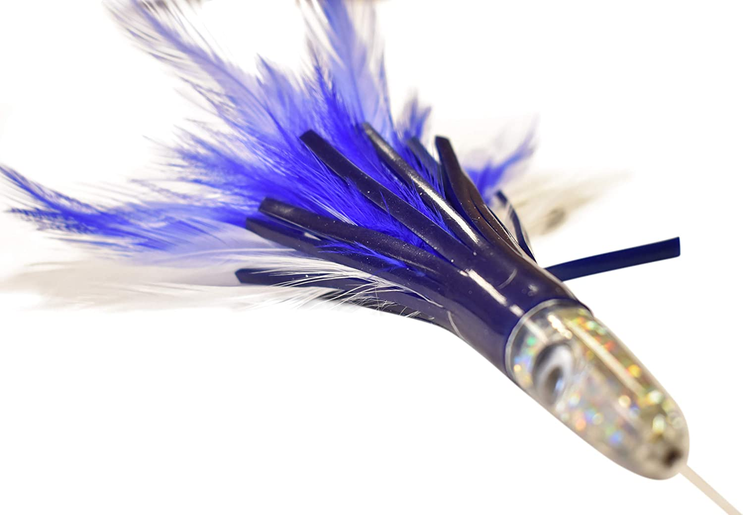Blue /& White Feather Duster Rigged Saltwater Fishing Lure