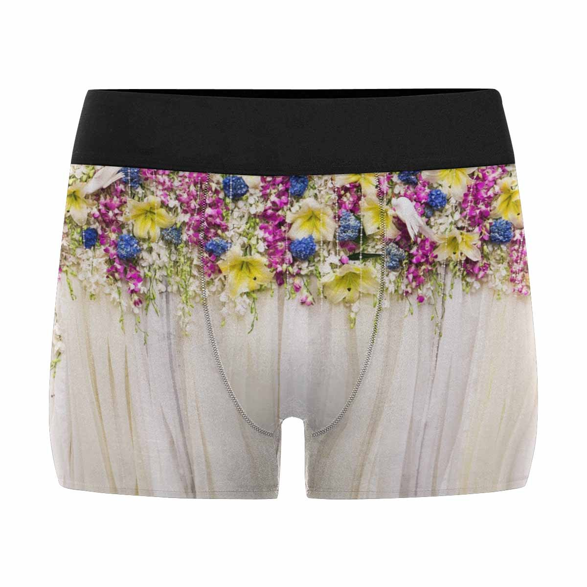 InterestPrint Men's All-Over Print Boxer Briefs Beautiful Flowers Background for Wedding Scene XS