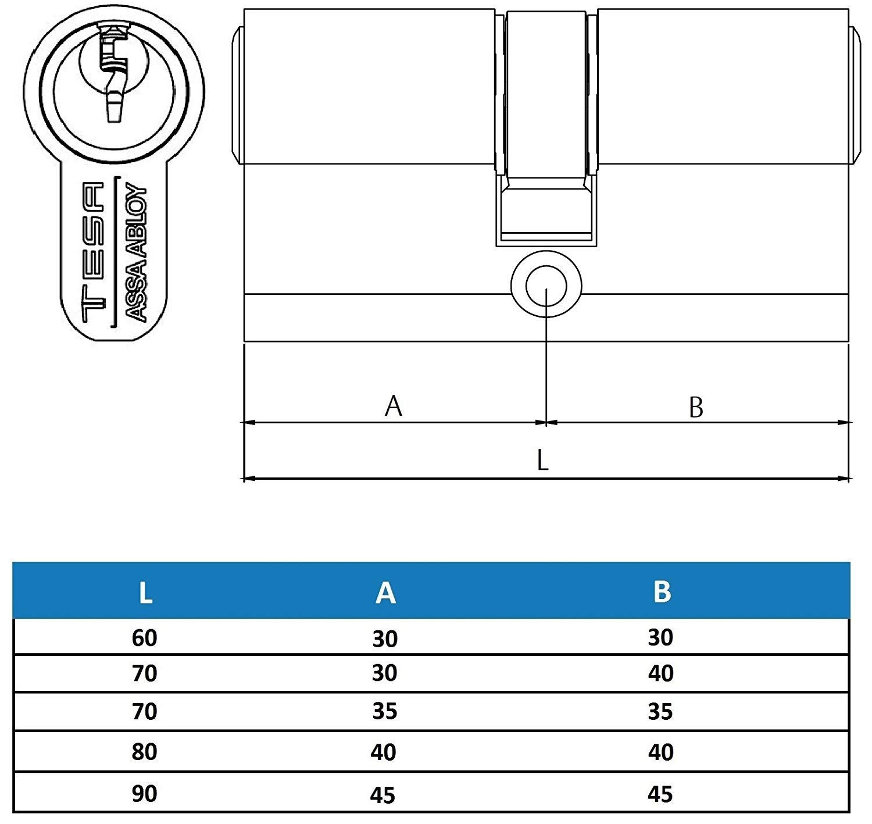 Cilindro Tesa 5030 //30x30 Latonado Leva larga