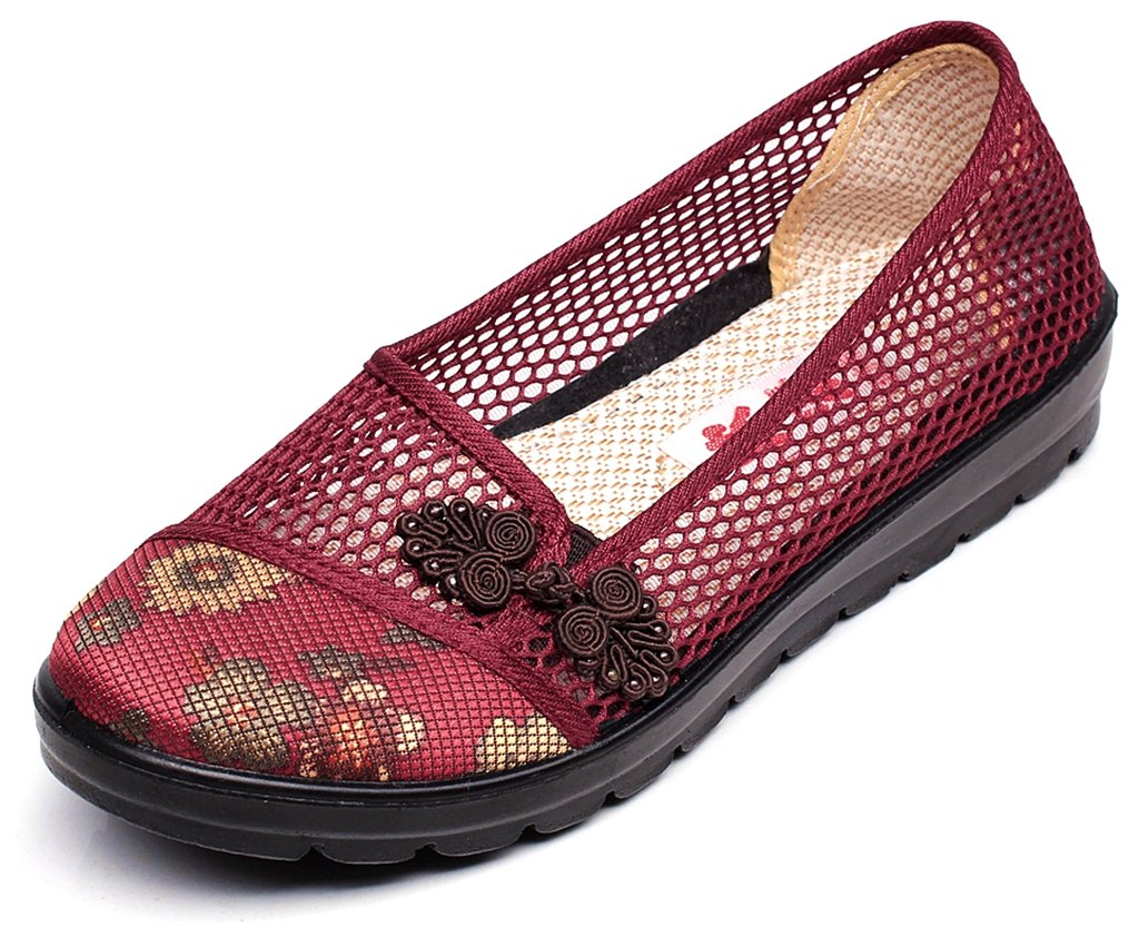 Clarsunny Women's Lightweight Casual Breathable Linen Mesh Ballet Flat Slip-on Loafer Shoes B07CMSVJT6 8.5B(M) US|Red