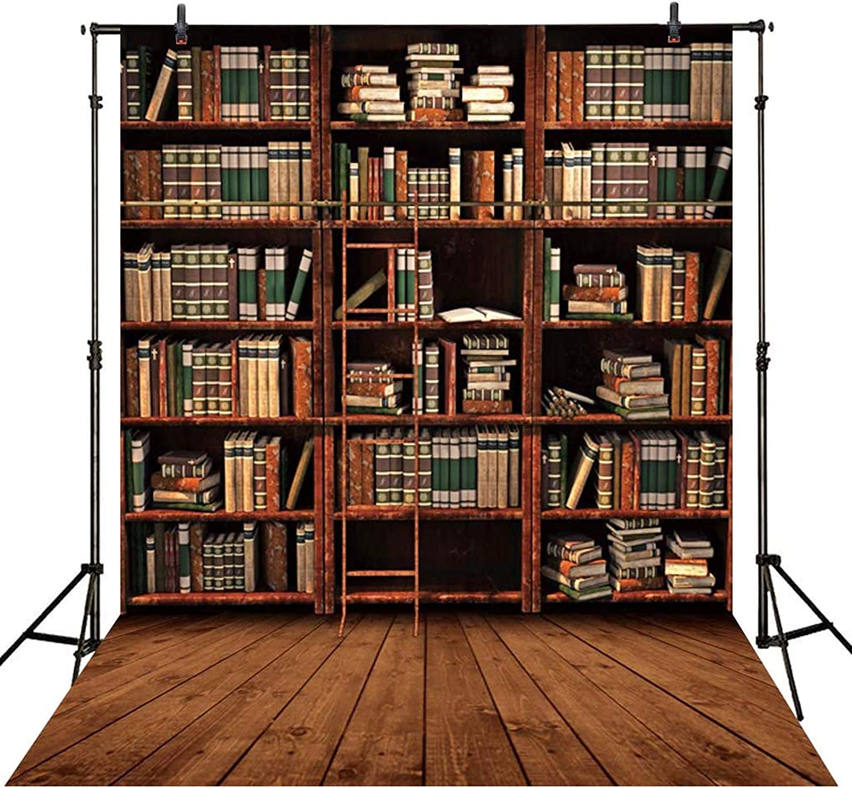 Allenjoy Bookshelf Wood Floor Photography Backdrop 5X7FT Retro Library Vintage Bookcase Ladder Magic Books Office Online Teaching Background PhotoCall Photo Studio Shoot Props Wall Decor