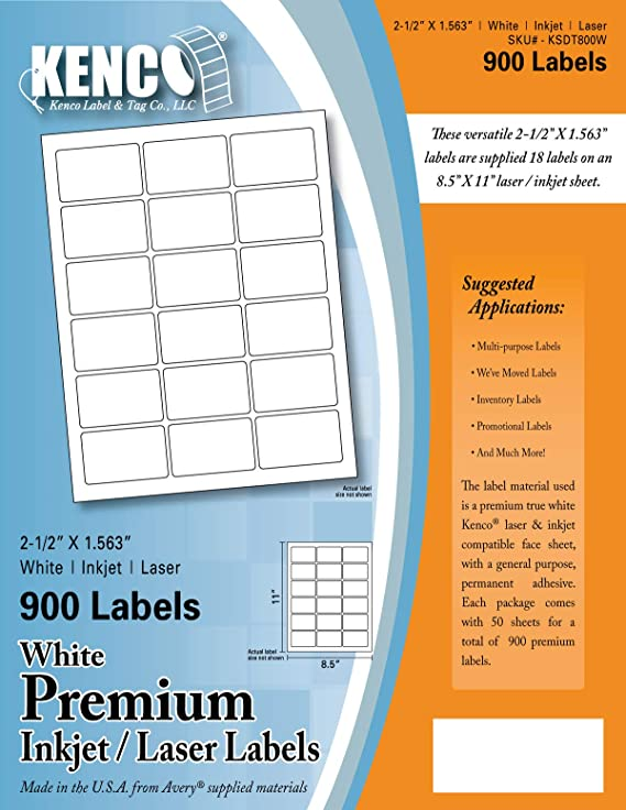 7bf77b8fc7d Amazon.com   Kenco Premium White Address Shipping UPC Laser Inkjet Labels  Made in The USA (8.5