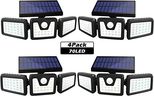 Solar Lights Outdoor, SONATA 3 Adjustable Heads Solar Flood Outdoor Lights, 800LM 6000K Solar Motion Sensor Light Outdoor, IP65 Waterproof, Wide Angle Illumination for Garage, Garden and Pathway