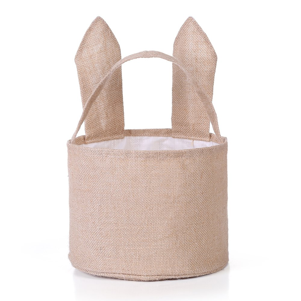 Easter Egg Basket for Kids Bunny Burlap Bag to Carry Eggs Candy and Gifts Purple