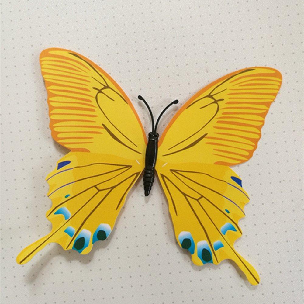 Amarillo 12 unidades de pegatinas magn/éticas tridimensionales de PVC en forma de mariposa decoraci/ón del hogar para ni/ños 50 x 70 cm