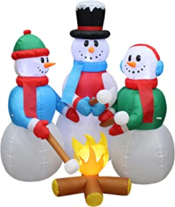 5 Foot Tall Huge Christmas Inflatable Snowmen Snowman Campfire Camping Roasting Marshmallows LED Lights Outdoor Indoor Holiday Decorations Blow up Lawn Inflatables Home Family Decor Yard Decoration