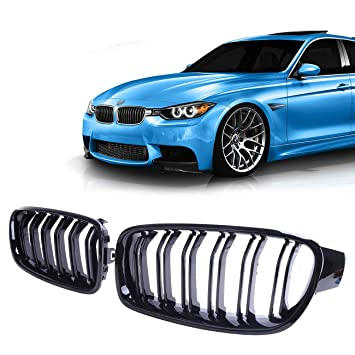 F30 F31 M3 12 15 Gloss Black Twin Blade Front Kidney Grill Grille