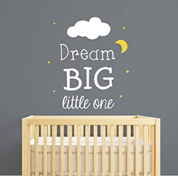 Dream Big Little One Nursery Wall Decal Quote   Nursery Wall Decal   Nursery  Room Decor Part 43