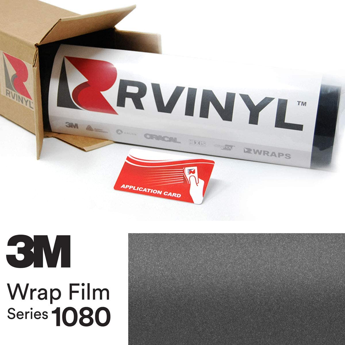 3M 1080 S261 Satin Dark Gray 5ft x 1ft W/Application Card Vinyl Vehicle Car Wrap Film Sheet Roll
