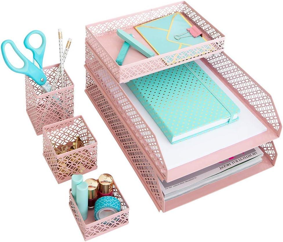 Blu Monaco Office Supplies Pink Desk Accessories for Women-344 Piece  Interlocking Desk Organizer Set- Pen Cup, 34 Assorted Accessory Trays, 34  Letter