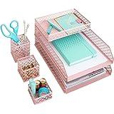 Blu Monaco Office Supplies Pink Desk Accessories for Women-6 Piece Interlocking Desk Organizer Set- Pen Cup, 3 Assorted…