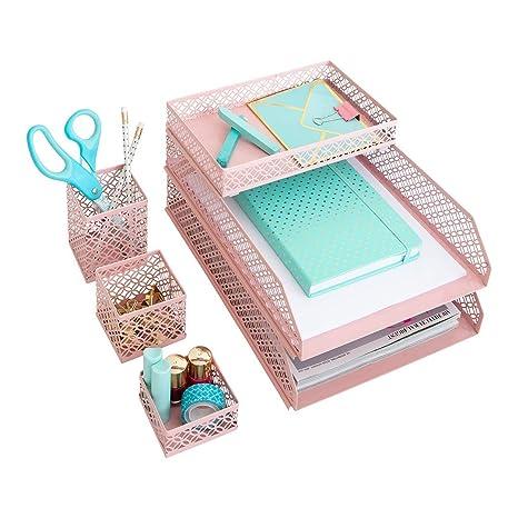 Blu Monaco Office Supplies Pink Desk Accessories For Women 6 Piece Interlocking Desk Organizer Set Pen Cup 3 Assorted Accessory Trays 2 Letter