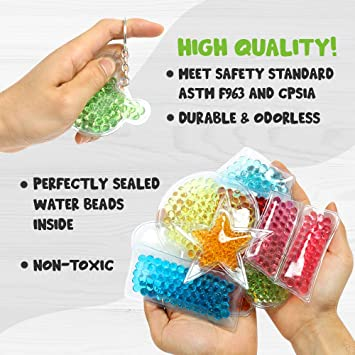 10pcs OleOletOy Sensory Water Beads Bean Bag Toys Colorful Anti Stress and Anxiety Hand Squishy Jellyball for Kids And Adults,Visual Educational Spongy Bead Squeeze Relief Gift for Fun