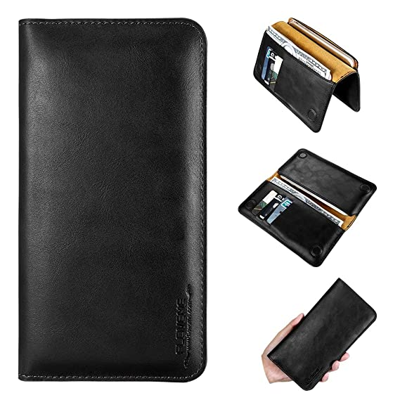 the latest d4e2f 11924 FLOVEME Handmade Genuine Leather Slim Wallet Case Cover, Premium Magnetic  Closure Credit Cash Card Slot Holder Flip Folio Book Protection for iPhone  6 ...