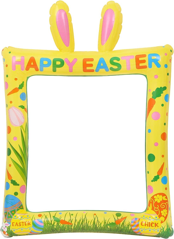 decorazione per Pasqua compleanno e primavera foto Kit di scena per foto pasquali a forma di coniglio palloncino per feste cornice per selfie SOIMISS cornice per foto