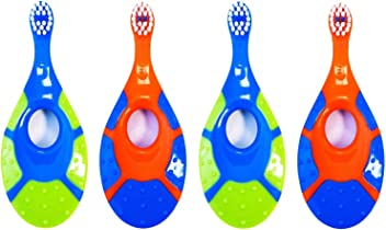 eValueCan Baby Toddler Toothbrush, 4 Pack, BPA Free & Soft Bristles, 0 to