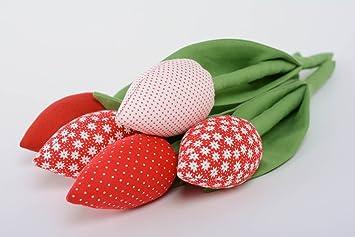 Flores decorativas tulipas de algodon originales artesanales estilosas 5 piezas