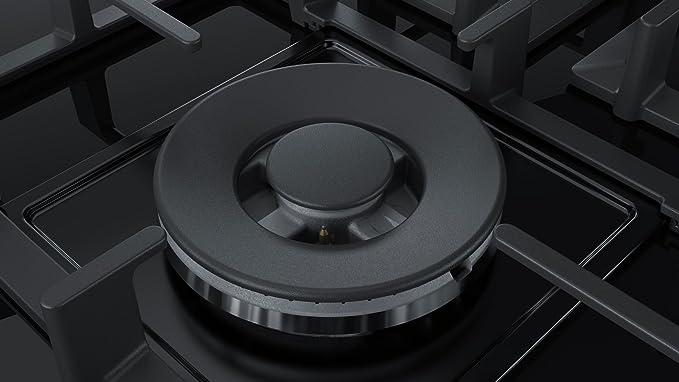 Bosch Serie 6 PPQ7A6B90 hobs Negro Integrado Encimera de gas - Placa (Negro, Integrado, Encimera de gas, Vidrio, 1000 W, 1750 W)