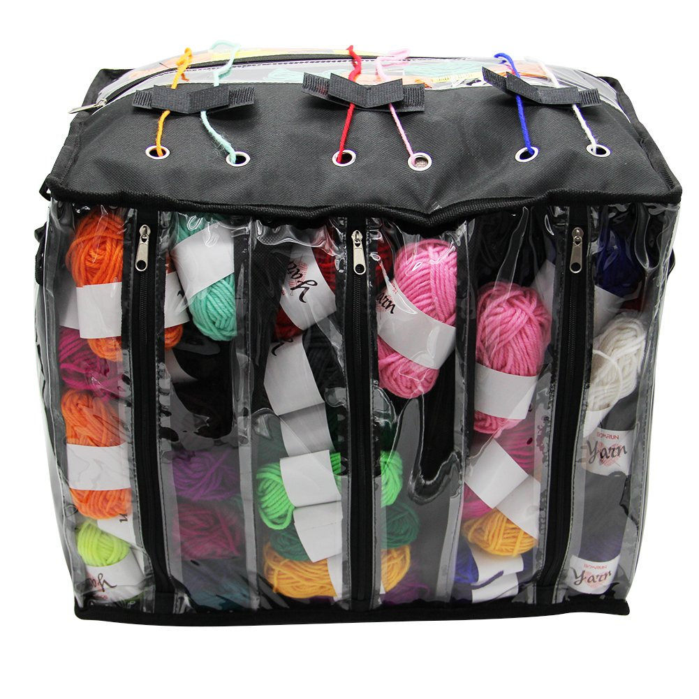 Maggift Knitting Bag, Yarn Storage Bag, Crochet Organizer, Clear Plastic Tote Bag, Multiple Pockets, Individual Compartments And Carrying Shoulder Strap (Black) 4336930713