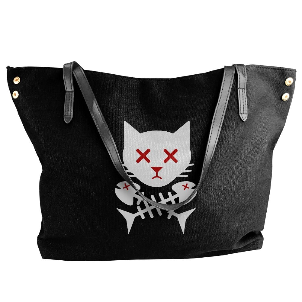 BlackRed Cat Skull Bones Fish Women's Modern Black Shoulder Bag