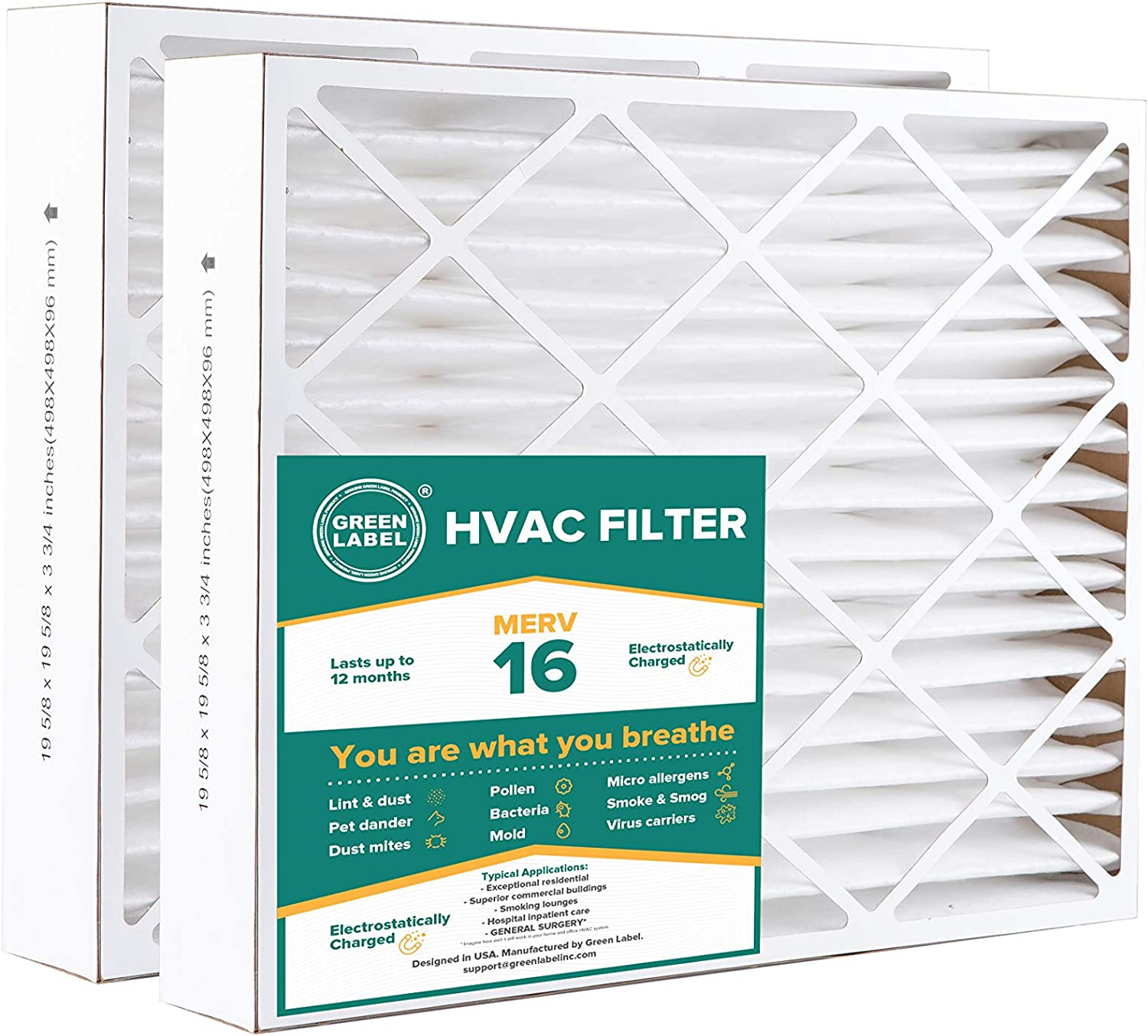 Green Label HVAC Air Filter 20x20x4, AC Furnace Air Ultra Cleaning Filter MERV 16 - Pack of 2