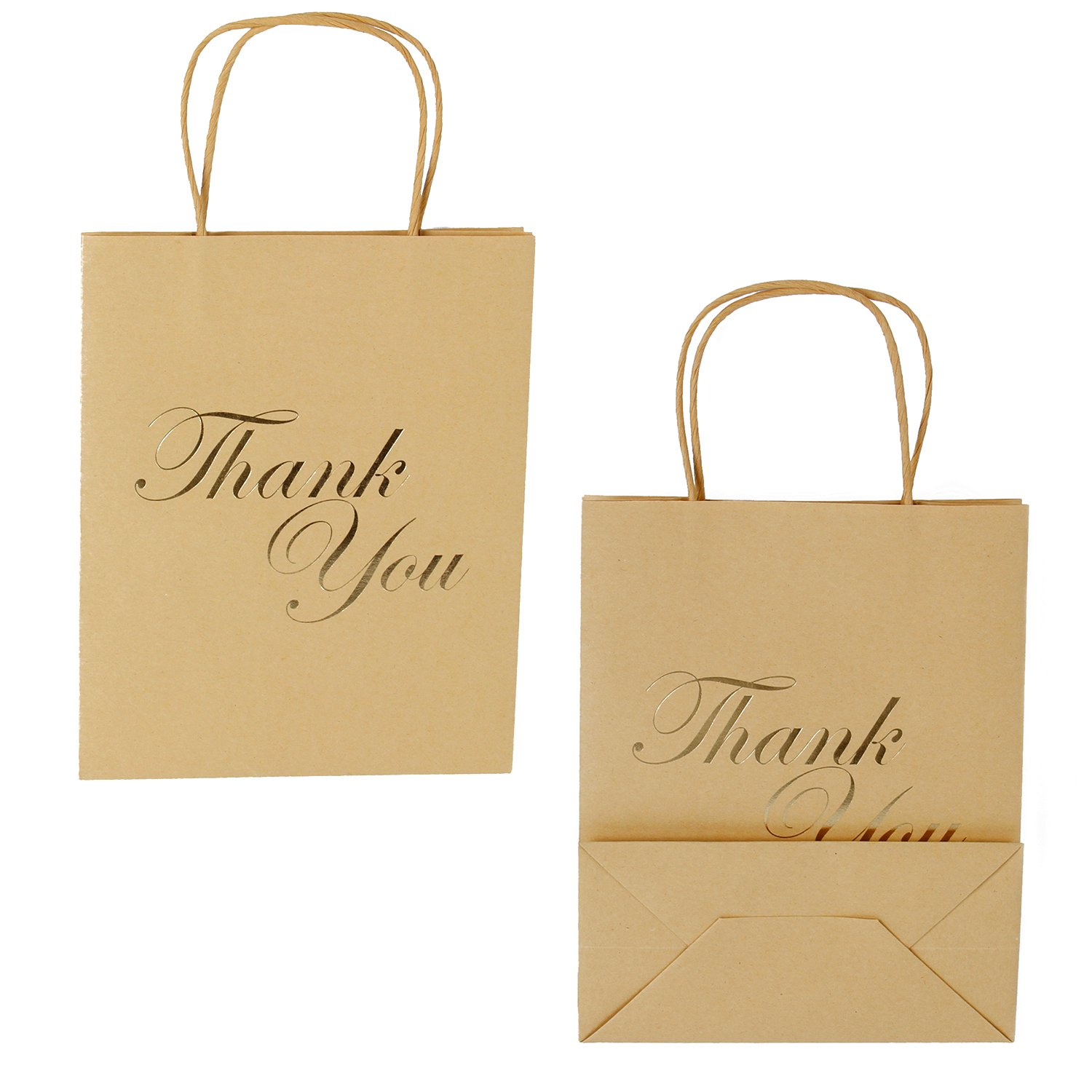 LaRibbon Medium Size Gift Bags - Gold Foil Thank You Brown Paper Bags with Handles for Wedding, Birthday, Baby Shower, Party Favors - 12 Pack - 8'' x 4'' x 10''