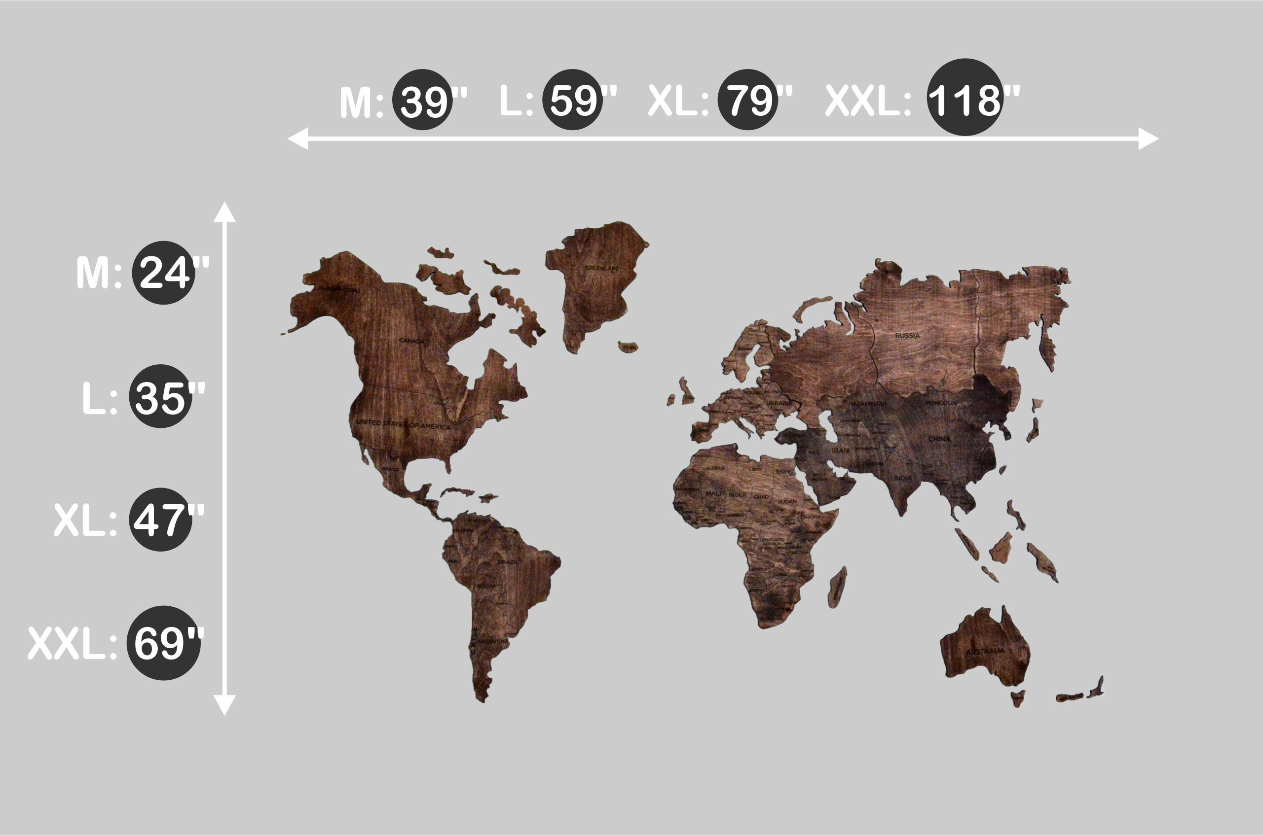 Large World Map of the World Travel map Wall world Cork Rustic Home decor Office decor Wall decor Dorm Living room Interior design Fathers Day Gift - By Enjoy The Wood 100x50cm, 150x90cm, 200x102cm by Enjoy The Wood (Image #8)