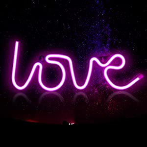 Neon Signs Love Letters Lights for Bedroom WallDecor Battery & USB Powered Aesthetic Led Neon Light for Teen Girls Living Room Party Decoration (Pink)