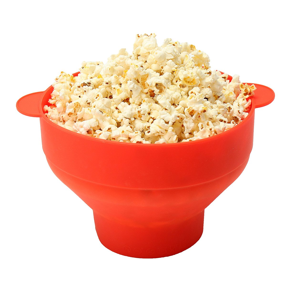 Popcorn Maker TAPCET Microwave Popcorn Maker Silicone Popcorn Popper Collapsible Popcorn Bowl with Convenient Handle and Anti-Splash Lid FDA Certified Red