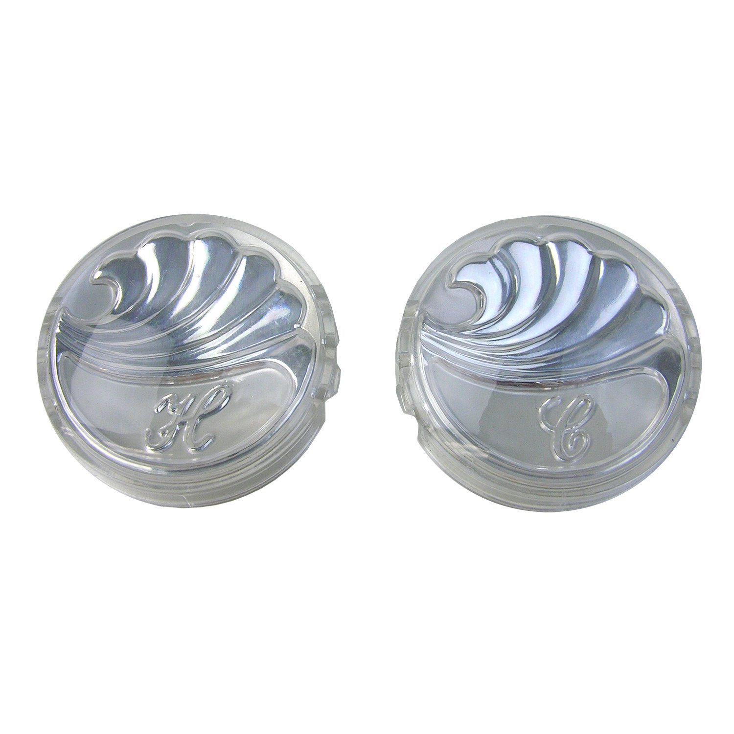 LASCO 0-6071 Hot/Cold Faucet Handle Index Buttons for Delta New Style Widespread Lavatory OEM 17965 Model, Silvertone Acrylic
