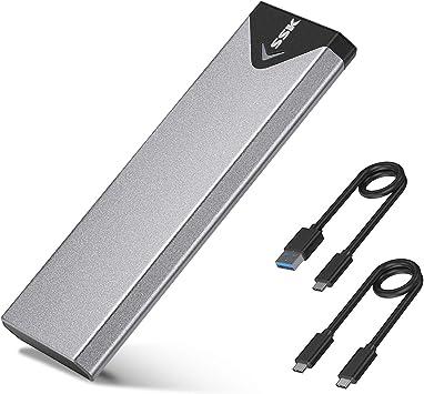 SSK M.2 caja ssd Adaptador de carcasa NVME de aluminio, USB 3.1 Gen 2 (10