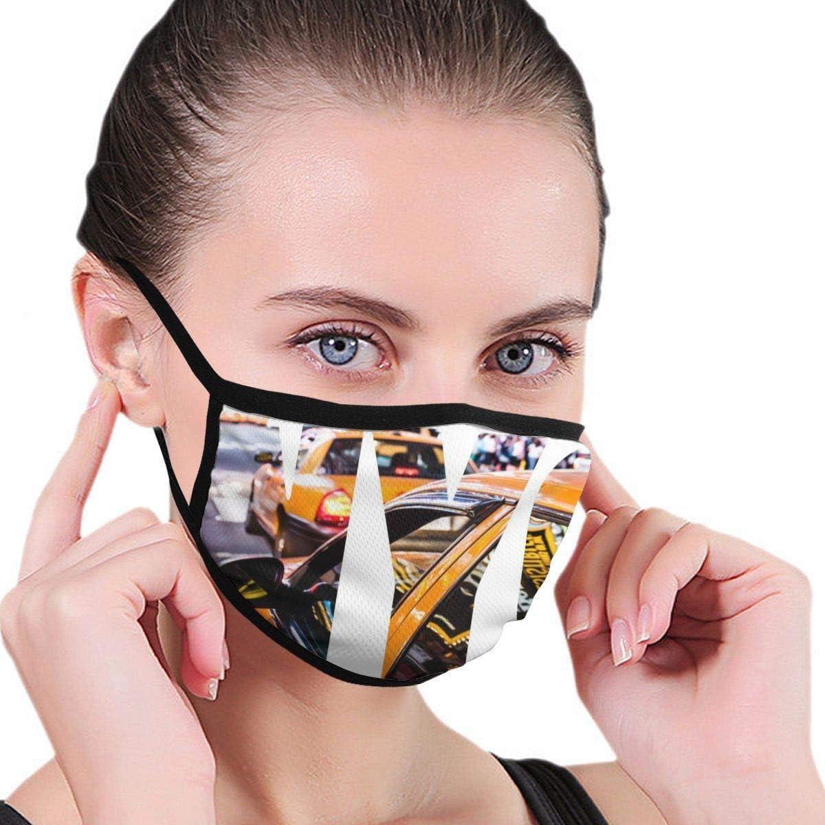 tangdouou Cabina Amarilla Máscara de Nueva York Gráficos para niños y niñas Cubierta de Boca Impresa a Prueba de Polvo Máscara Boca a Prueba de Viento Mufla