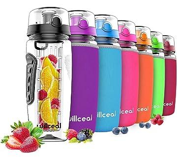 c1bf974277 Willceal Fruit Infuser Water Bottle 32oz Durable, Large - BPA Free Tritan,  Flip Lid