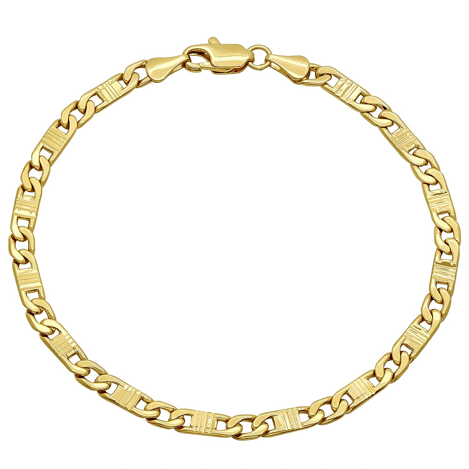 The Bling Factory 4mm 14k Yellow Gold Plated Groove Textured Flat Mariner Link Chain, 7'' + Microfiber Jewelry Polishing Cloth