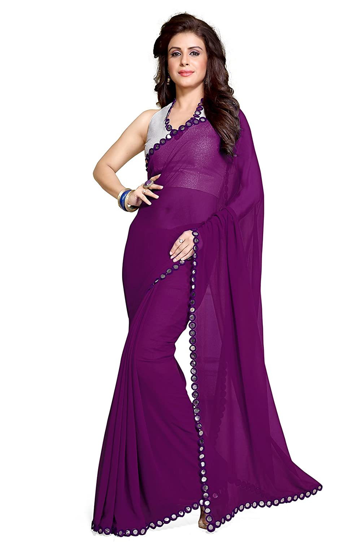 0e07ed754cd7 Top11: Sourbh Mirchi Fashion Women's Plastic Mirror Border Indian Saree  Unstitched Blouse Piece