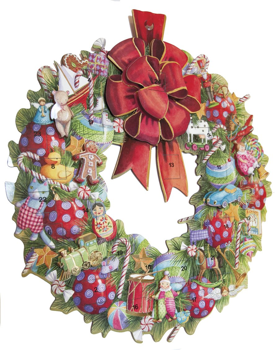 Caspari Wreath Die Cut Advent Calendar