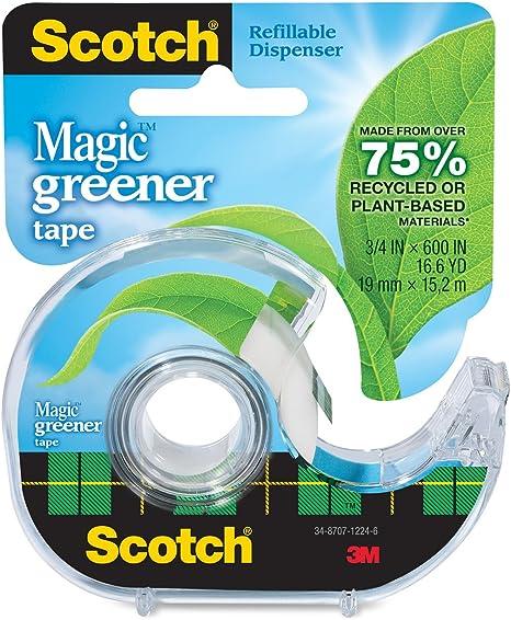 "SCOTCH MAGIC GREENER TAPE REFILLABLE DISPENSERED 3//4/"" X 600/"" 12 ROLLS"