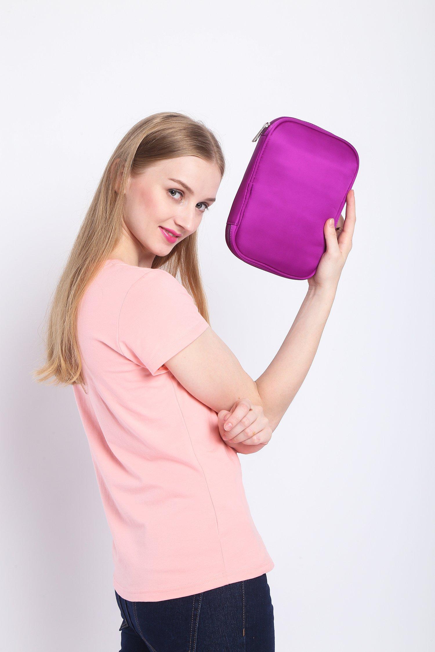 Lily & Drew Travel Jewelry Storage Carrying Case Jewelry Organizer with Removable Pouch (V1 Dark Purple) by Lily & Drew (Image #2)