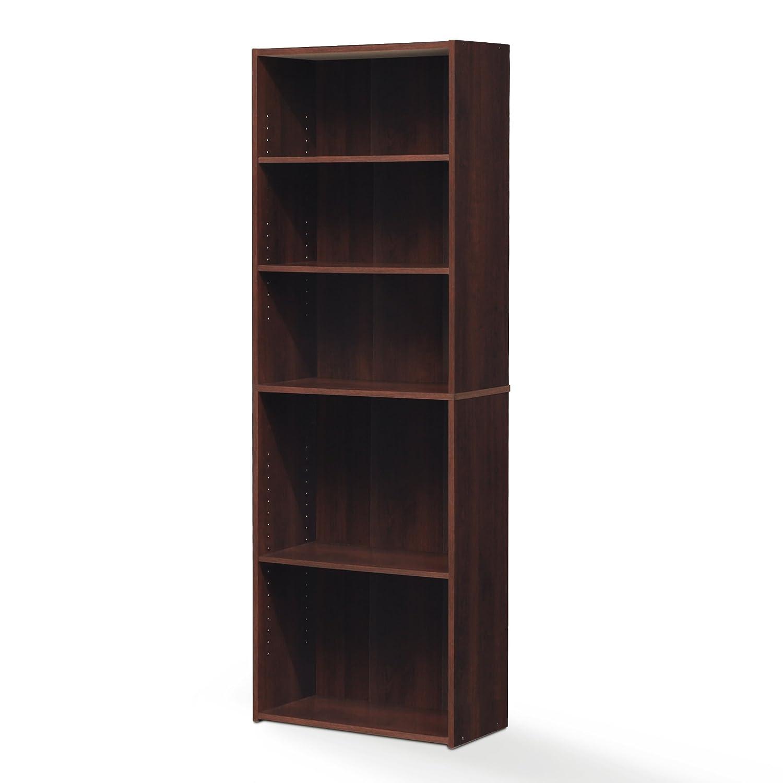 FURINNO Wright 5-Shelf Bookcase, Brook Cherry