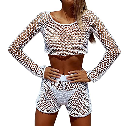 a671896ab5 Amazon.com: Cyswi Swimsuit White Mesh Bikini with Pants Beachwear 2 Pieces  Bathing Suit Fishnet Swimming Suit See Through Sets for Woman: Clothing