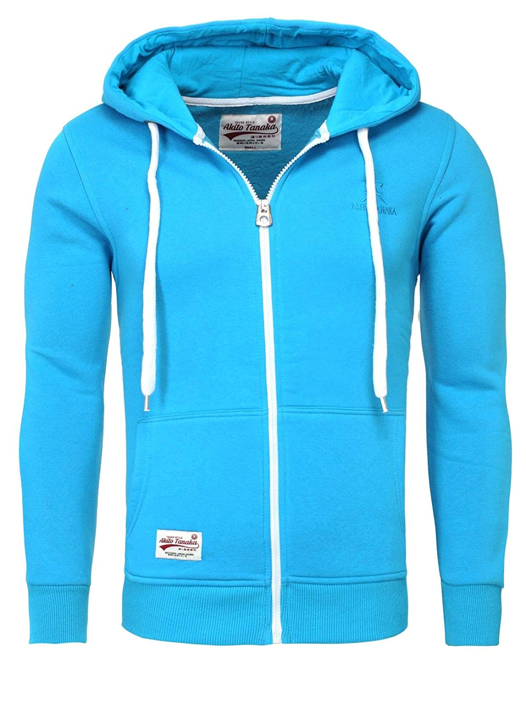 da48ded55fad Akito Tanaka Herren Sweatjacke Zip Hoodie Sweatshirt 18110 Sweater mit Kapuze  Reißverschluss slim fit kontrast look  Amazon.de  Bekleidung