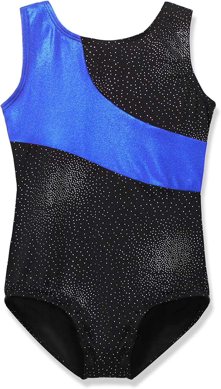 Gymnastics Leotard for Girls Stripe Starry Sky Long Sleeves Athletic Unitard for Little Girls 2-15 Years
