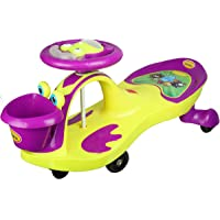 BabyGo Baby Hoopa Swing Magic Car Ride On for Kids with Music and Light (Purple and Neon Green)