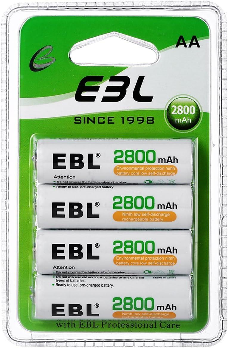 Paquete de Pilas AA EBL - Alta Capacidad Recargables  2800 mAh, paquete de 4.